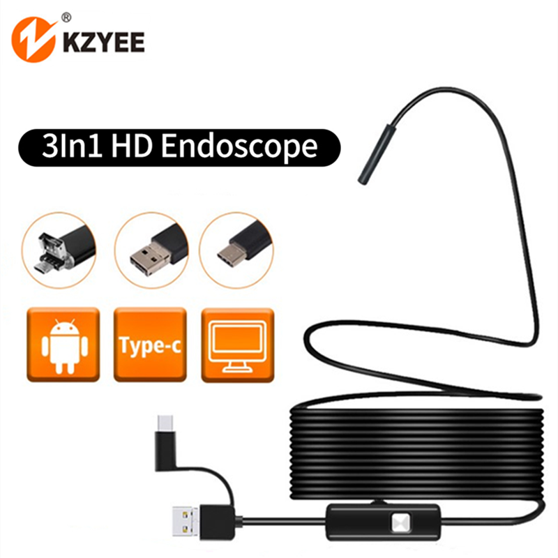 3 in 1 Micro USB Endoscope Camera 7MM IP67 Waterproof With 6 Leds Type-c Borescope Inspection Camera for Android Smartphone PC