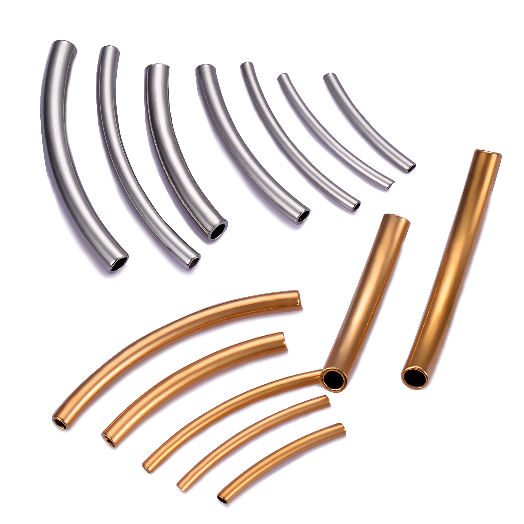 10 Pcs Stainless Steel Curved Tube Spacer Beads Connector Jewelry Findings For Bracelets Necklace DIY Jewelry Making Accessories