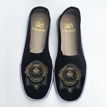 F. N. שקע Mens דירות עם מפואר דפוס קלאסי Cutton בד Mens נעליים מזדמנים לנשימה נעליים בעבודת יד