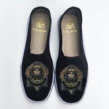 F. n. jack mens flats with fancy pattern 클래식 cutton 패브릭 남성 신발 캐주얼 통기성 수제 로퍼