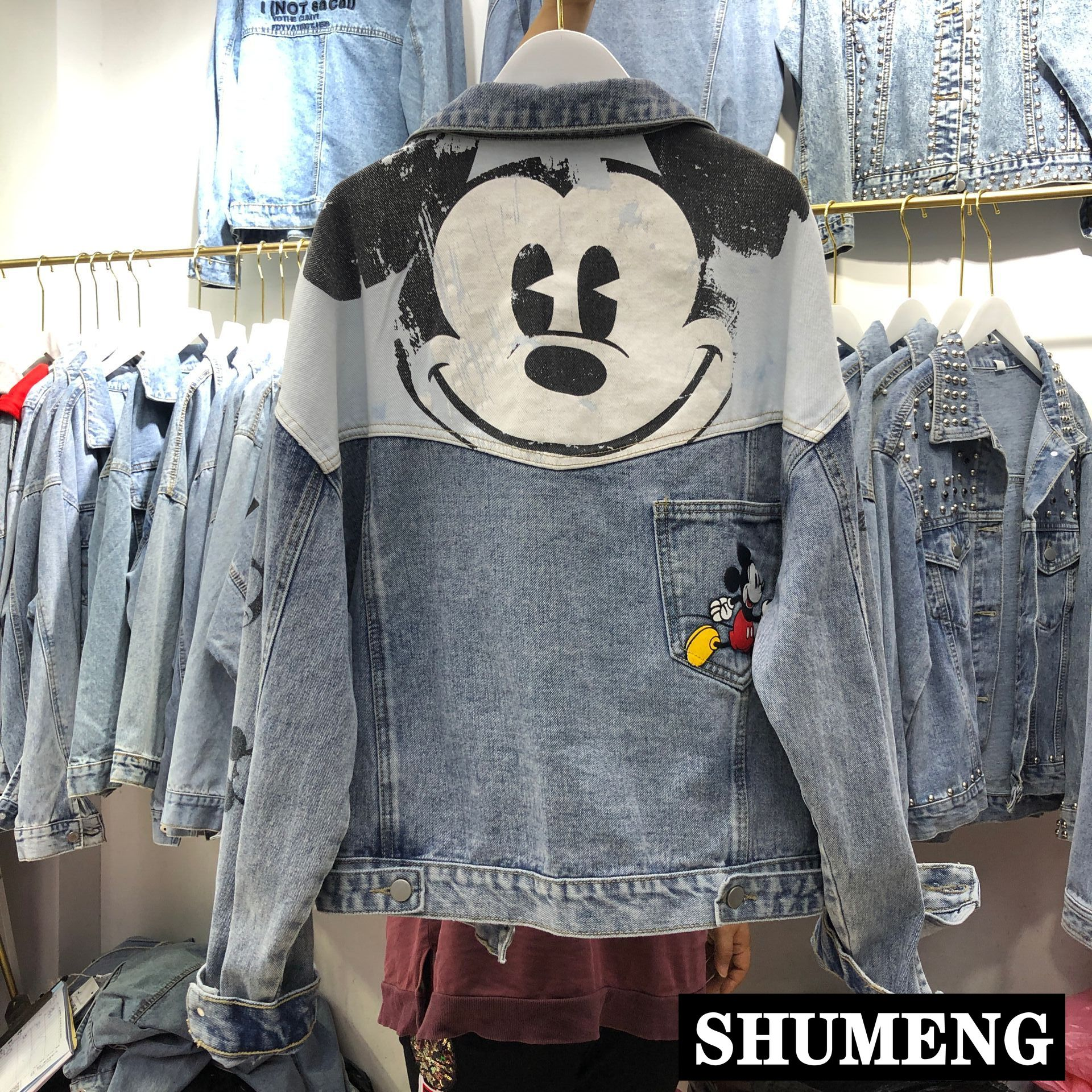 Cute Mickey Print Loose Denim Coat Outerwear Women's Fashion Spring 2020 Students Casual Jeans Coat Loose Cowboy Jackets