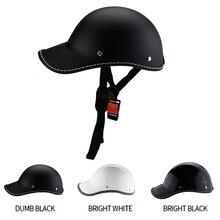 1 قطعة دراجة نارية نصف الوجه Vintage خوذة الصيف قبعة قبعة الرجال النساء موتوكروس موتو سباق أبيض/أسود