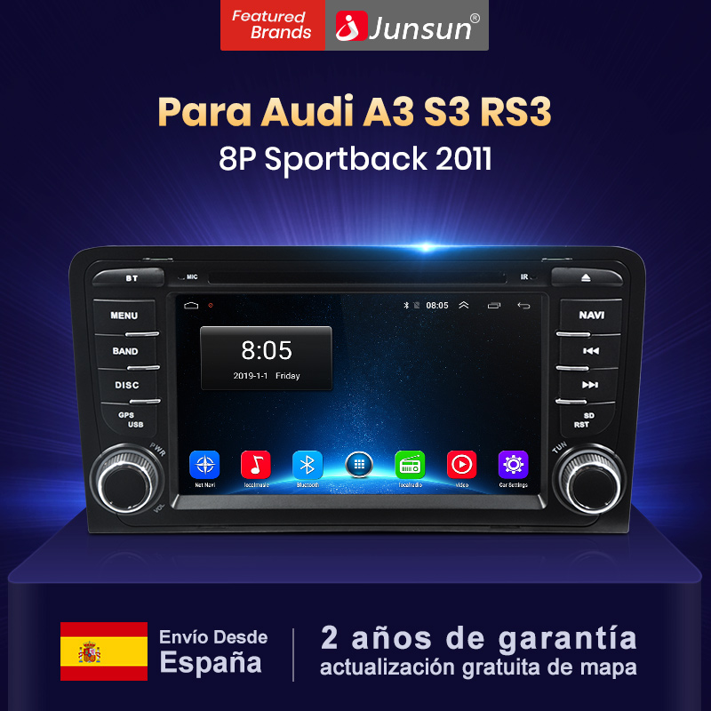 Junsun 2 Din 4G 64G DSP Android 9,0 coche DVD GPS para Audi A3 8P 2003-2012 S3 2006-2012 RS3 Sportback 2011 reproductor Multimedia Radio