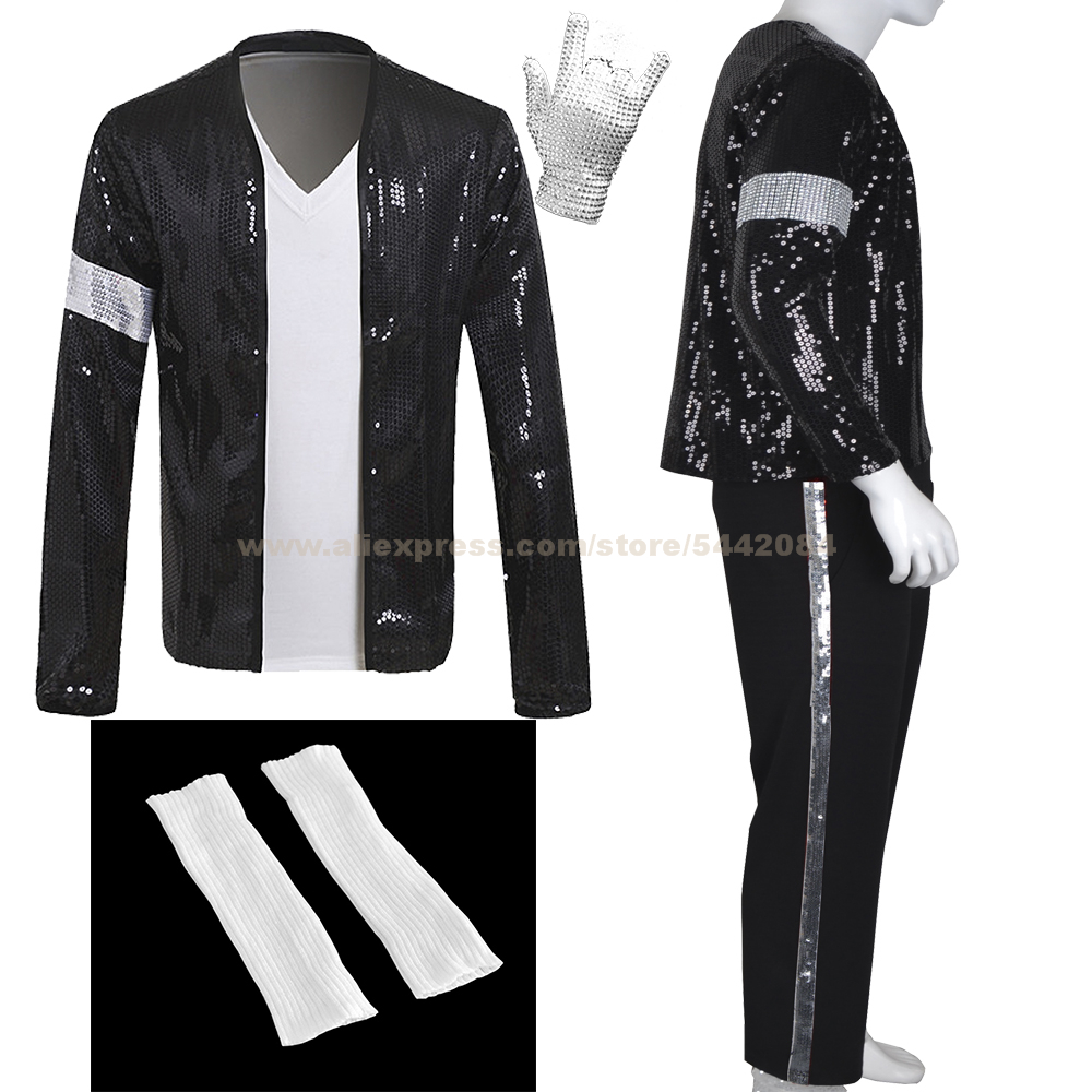 MJ Michael Jackson Billie Jean Coat Black Sequin Armband Jacket Pants Glove Socks Party Costume Kids Adults Cosplay Prop