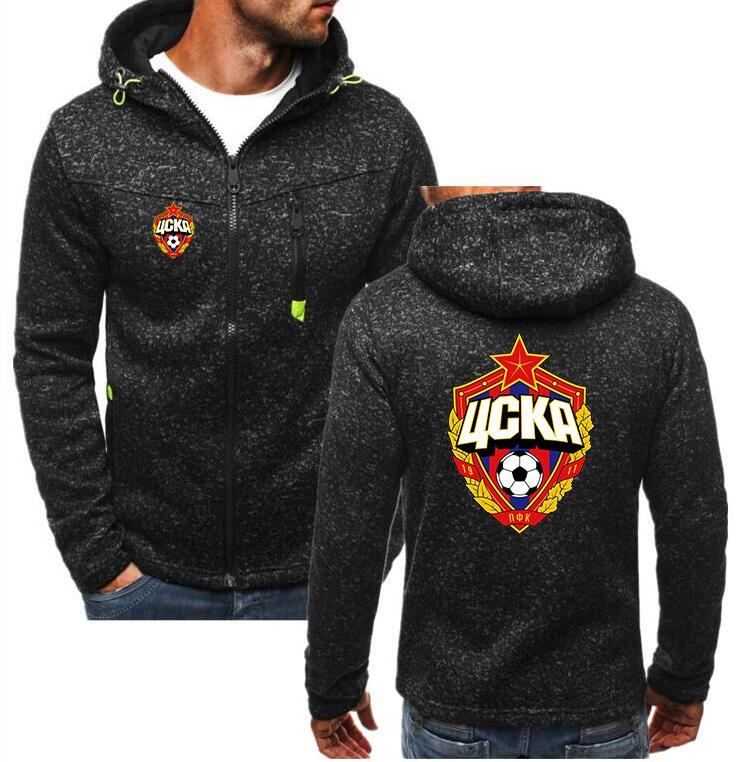 2018 Winter New Russian Premier League CSKA Moscow Club FC Hoodies Sweatshirts Men Casual Apparel Zipper Hooded Hoody