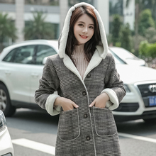 Fashion hooded Harajuku Overcoat Women Autumn & Winter Thick Warm Long-sleeved Plaid Casual Brown Office Lady Long-coat
