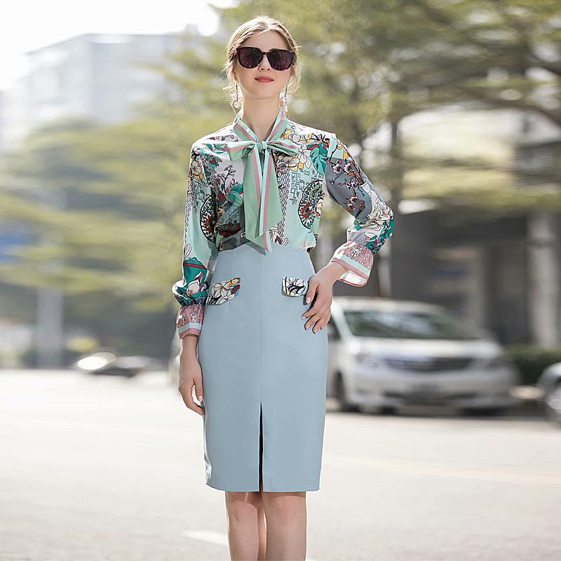 Spring New Fashion High Quality Party Casual Workplace Printing Ribbon Tops Pencil Half Skirt Vintage Elegant Chic Women'S Sets