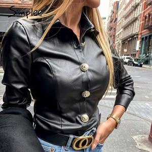 Image 2 - Simplee בציר ארוך שרוול נשים חולצה חולצה מזדמן תורו למטה צווארון שחור חולצה חולצה משרד ליידי כפתור עור מפוצל חולצה