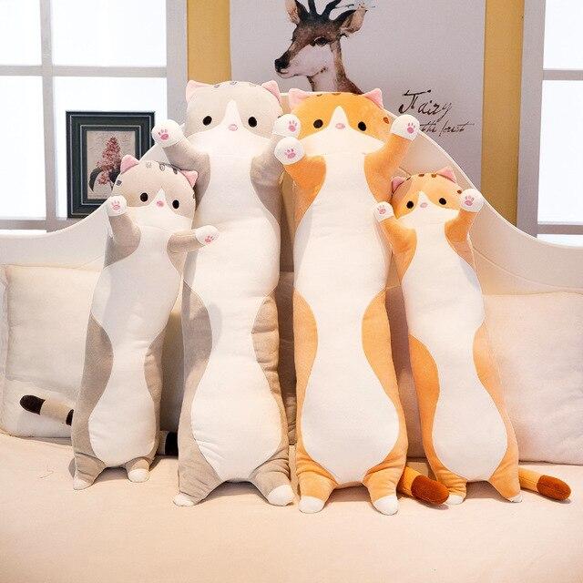 플러시 장난감 동물 고양이 귀여운 크리 에이 티브 긴 부드러운 장난감 사무실 점심 휴식 낮잠 베개 쿠션 어린이를위한 박제 선물 인형