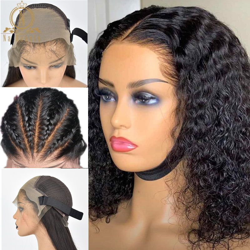 Glueless Curly Fake Scalp Wig Short Bob 13x6 Lace Front Human Hair Wigs Curly Invisible Knot Bleached Knots Pre Plucked Remy(China)