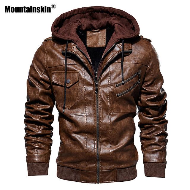 $ US $36.99 Mountainskin 2020 New Men's Hooded Leather Jackets Autumn Casual Motorcycle PU Jacket Biker Leather Coats Brand Clothing SA744