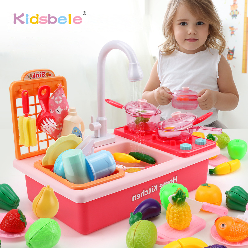 Kids Kitchen Toys Simulation Electric Dishwasher Educational Toys Mini Kitchen Food Pretend Play Cutting Role Playing