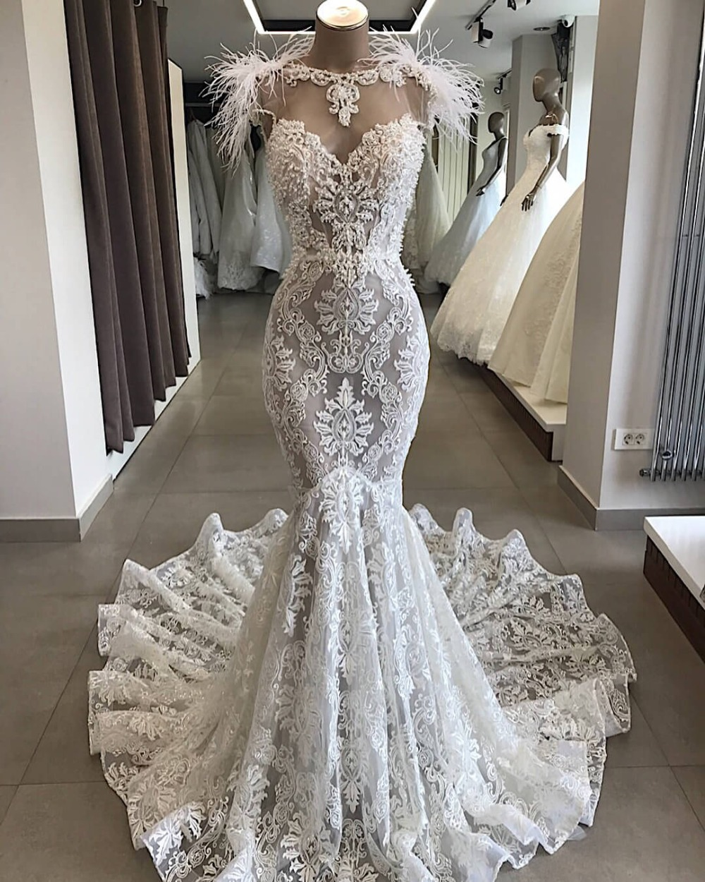 2020 Robe De Mariee Luxurious Wedding Dresses Floor Length Lace Mermaid Custom Made Bridal Gowns Vestido De Novia Sirena
