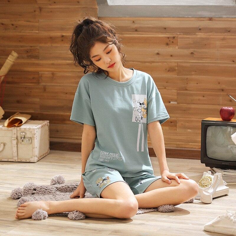 907 # White And Yellow Bear Emblem Pullover JZ Short Sleeve Shorts Pajamas Homewear Set Series