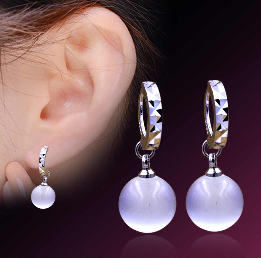 South Korea's New Silver Plated Starry Opal Ball Earrings Bride Wedding Ear Jewelry Does Not Fade Fine Ear Jewelry For Women