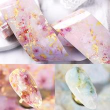 100/50x4cm Nail Foils Marble Series Pink Blue Paper Art Transfer Sticker Slide Decal Nails Accessories 1 Box