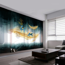 Nordic 3D Abstract Wallpaper Golden Feather Elk Geometric Pattern Background Wall Decorative Painting Living Room TV Backdrop