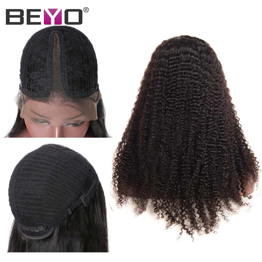 6 Inches T Part Wigs Afro Kinky Curly Lace Front Wigs For Black Women Brazilian Lace Wig Pre Plucked Remy Human Hair Wigs Beyo