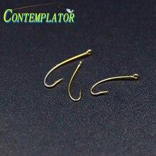 120pcs 3sizes Assorted 3X Lengthened Curved Nymph&Dry Fly Fishing Hook Bared 12# 14# 16# Straight Eye Multi-use Stimulator Hooks bared blade