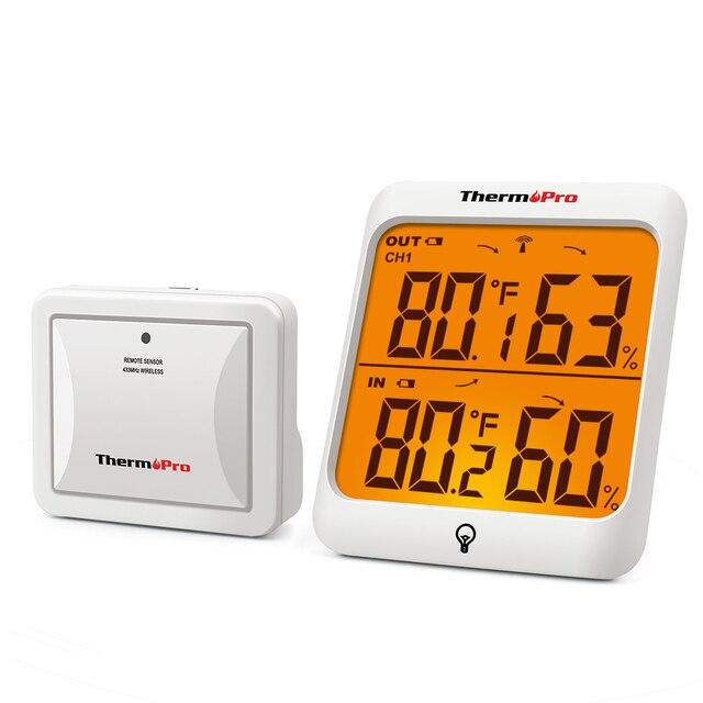 ThermoPro termómetro Digital inalámbrico TP63A, higrómetro, medidor de humedad de 60M, estación meteorológica con luz trasera