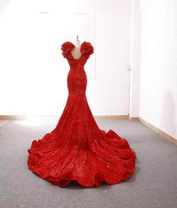 Image 4 - Rsm66736 מיוחד כובע שרוולים V צוואר בת ים תחרה עד ארוך רכבת אדום אלגנטי ערב שמלות
