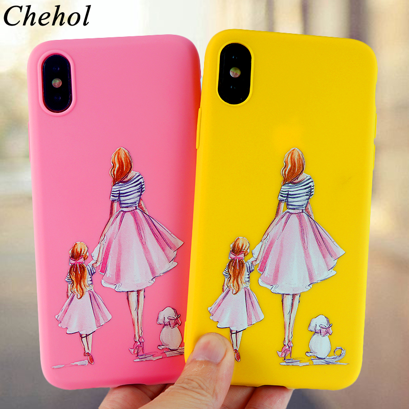 Queen Phone Case for IPhone X XS MAX XR 8 7 6s Plus Cases Mom Girl Baby Soft Silicone TPU Fitted Candy Back Covers Accessories in Fitted Cases from Cellphones Telecommunications