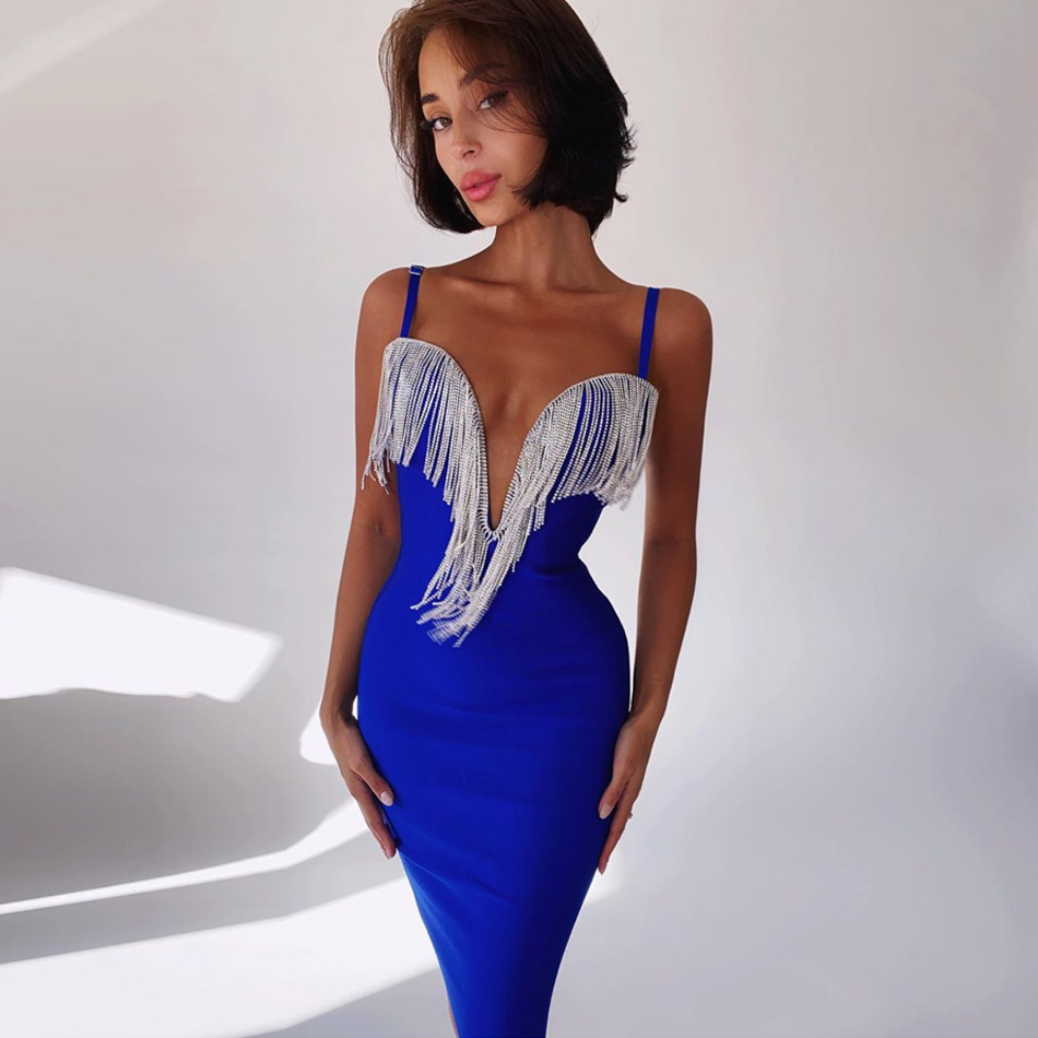 ADYCE 2020 New Summer Tassels Club Bandage Dress Sexy Spaghetti Strap Sleeveless Celebrity Evening Runway Party Bodycon Dresses|Dresses| - AliExpress