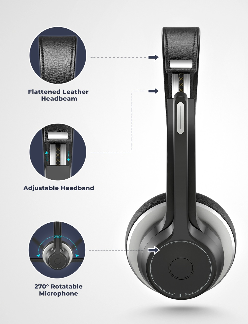 Mpow HC5 Wireless Headphones Bluetooth 5.0 Headset With CVC8.0 Noise Cancelling Microphpne Mute Control Button For PC Computer (6)