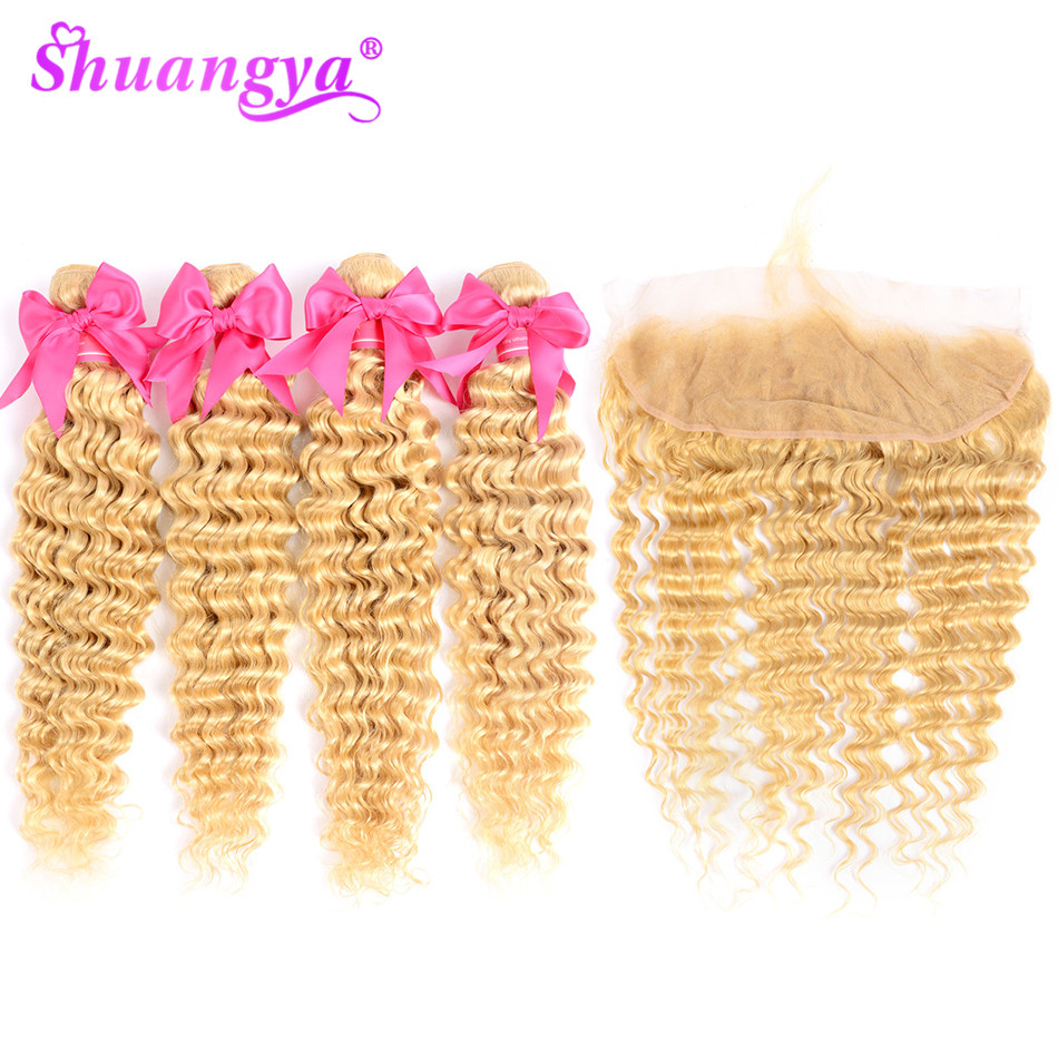 Shuangya Hair 613 Bundles With Frontal Malaysian Deep Wave Bundles With Frontal Remy Hair Frontal With Bundles Hair extension image