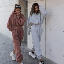 Outono inverno streetwear mulheres joggers 2 peça define calças moletom com capuz duas peças conjunto agasalho velo outfits moletom