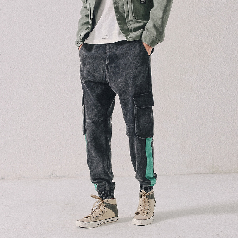 European Fashion Streetwear Men Jeans Stripe Designer Big Pocket Denim Cargo Pants Harem Trousers Hip Hop Jeans Men Joggers