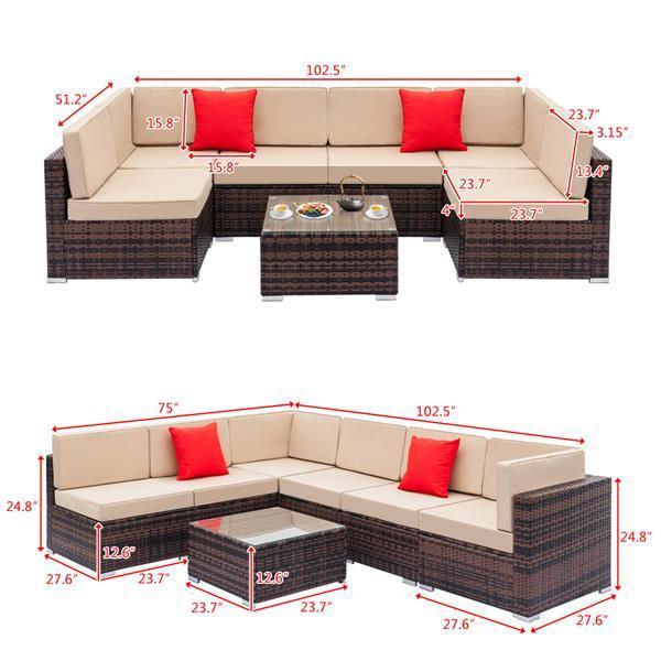 Rattan Sofa Set with Coffee Table 5
