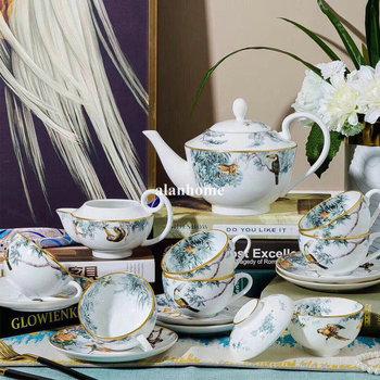 15 sztuk porcelany kostnej europejska kawa zestaw filiżanek cukru garnek do mleka domowa ceramika zestaw do podwieczorku porcelany do kawy tanie i dobre opinie CN (pochodzenie) Porcelana kostna Zestaw z ponad 8 sztukami