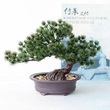 Alta qualidade plantas artificiais verde bonsai árvore simulação pinheiro agulhas cipreste plantas jardim/mesa/casa decorações da sala de estar