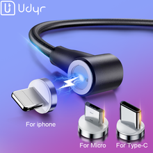 Udyr 1m 2m Cable USB magnético Micro USB tipo C magnético rápida Cable de carga para iPhone XS. cables de teléfono móvil con imán Samsung