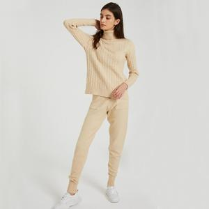 Image 2 - Wixra Knitted Women Sweater Sets Turtleneck Long Sleeve Sweaters Tops+Pockets Long Pants Solid 2 Pieces Suits Winter Costume