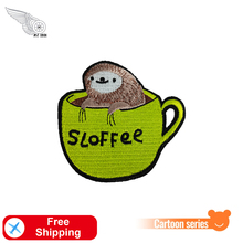 Sloffee Cartoon Embroidered Patches Sloth Animal Badges Iron on for Clothes DIY Cute