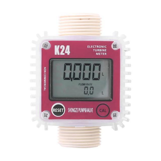 דיגיטלי LCD מד זרימה K24 טורבינת דיזל דלק מד זרימה עבור כימיקלים מים ים להתאים זרימת נוזל מטר מדידה כלים