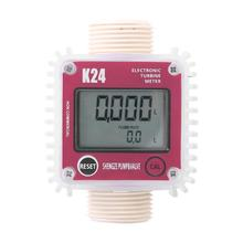 Medidor Digital de flujo de combustible LCD K24, medidor de flujo de combustible diésel para productos químicos, medidor de flujo de líquido con ajuste marino, herramientas de medición