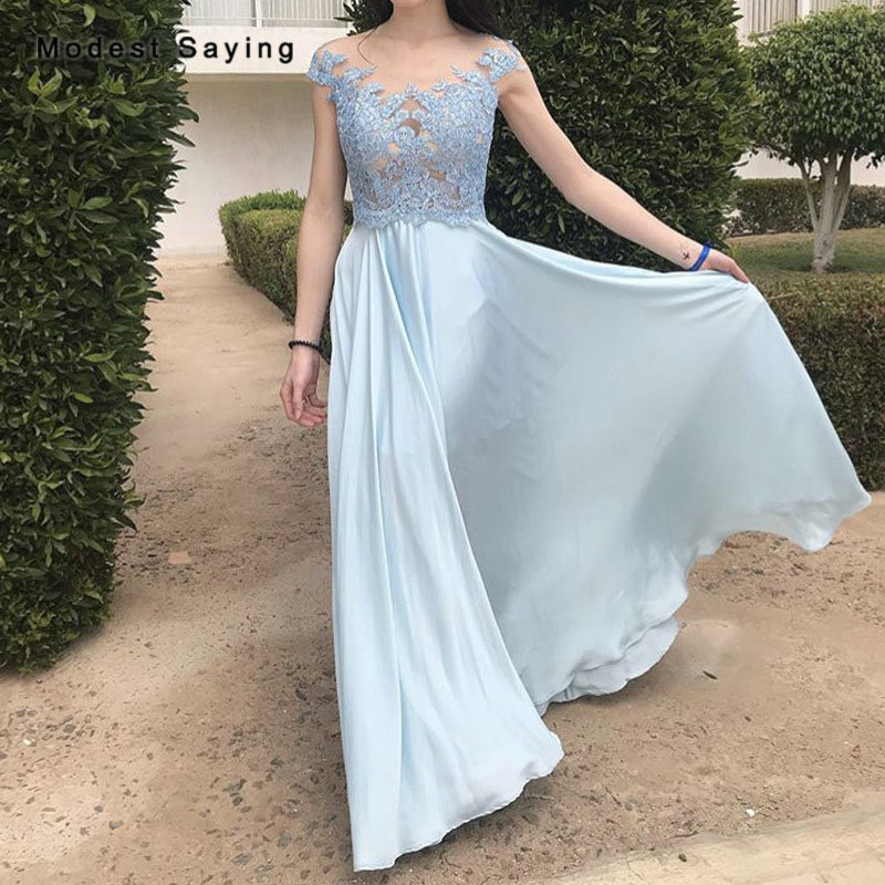 Light Blue A-Line Lace Bridesmaid Dress 2019 Buttons Back Formal Girls Illusion Maid Of Honor Dress Chiffon Party Prom Gowns