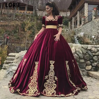 LORIE Burgundy Ball Gown Kaftan Evening Dresses Short Sleeve Dubai Princess Prom Party Dresses Gold Lace Appliqued Velvet Gowns