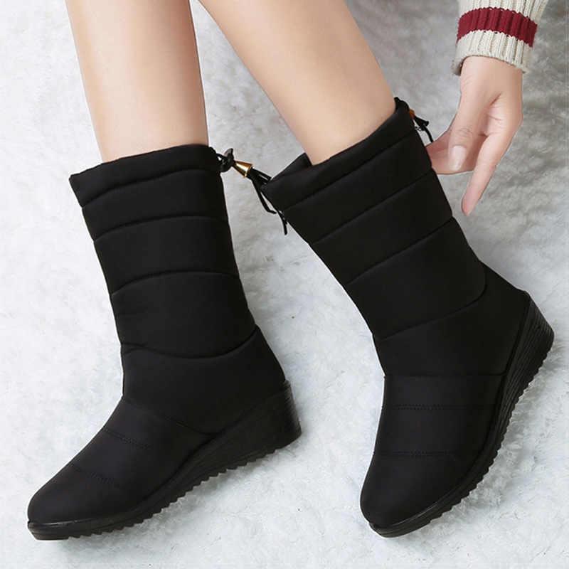 女性ブーツ 2019 ミッドカーフ冬のブーツウェッジヒールの雪のブーツ冬の靴の女性プラスサイズ 44 暖かい毛皮プラットフォーム Bota Ş Mujer