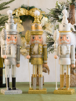 42cm Golden Silver White Color Nutcracker Puppet King Soldier Wooden Statue Creative Home Decoration Living Room Office Gifts