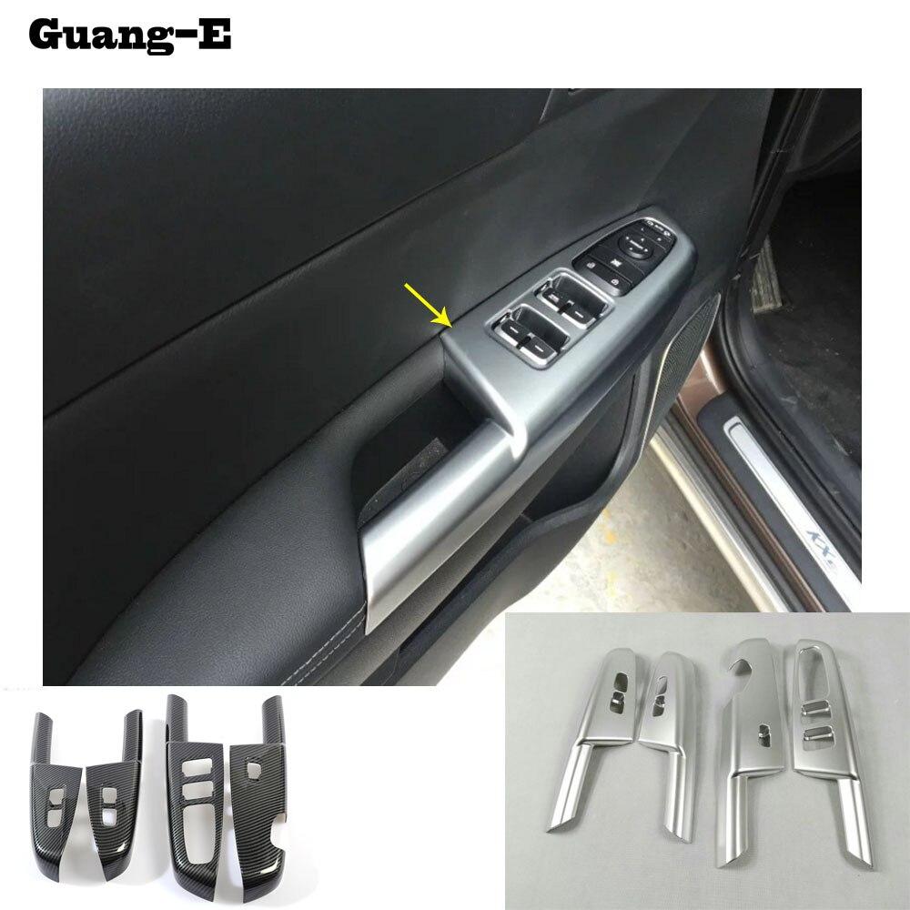 Reposabrazos para Kia Sportage KX5, cubierta de panel de interruptor de cristal para puerta interior de coche, ABS, cromado, embellecedor, marco de elevación, reposabrazos, para Kia Sportage KX5 2016 2017 2018