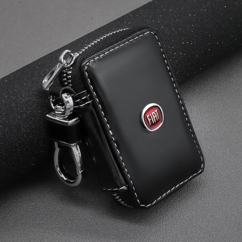 Leather Key Wallets Zipper Car Key Holders Buckle Key Case Housekeeper Holder For Fiat 500 Ducato Tipo Panda Bravo Doblo Stilo