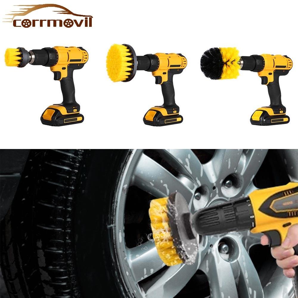 3 pces elétrica purificador escova broca 2/3.5/4 Polegada power esfrega escova limpa escovas de náilon para móveis interiores do carro pneus limpeza