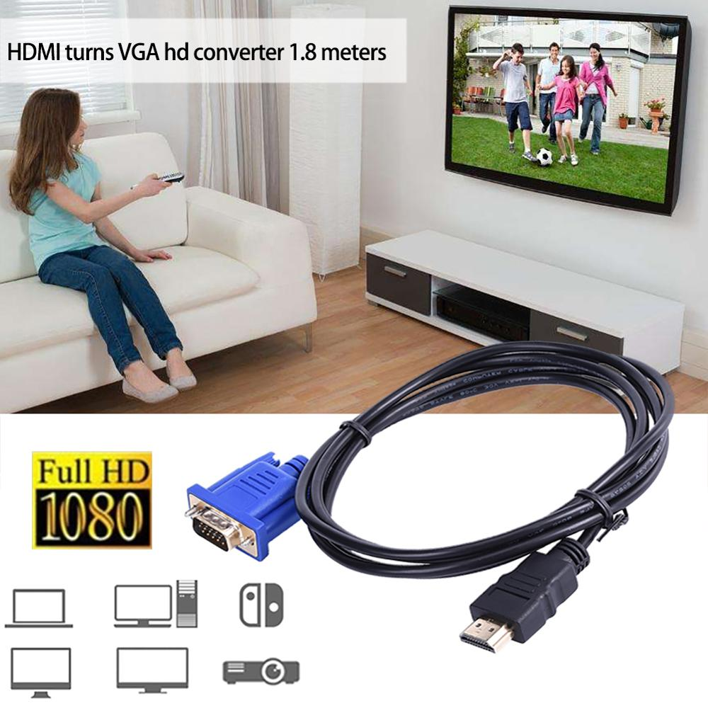 Tonbux 1.8M HDMI Cable Male To VGA HD-15 Male 15Pin Adapter Cable Converter 5FT 1080P HD Splitter Switch For PC DVD HDTV Monitor