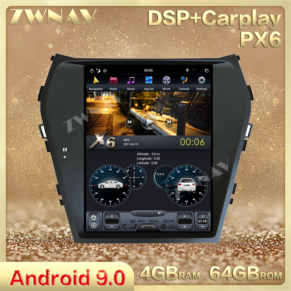 PX6 Vertical Screen Tesla Style Android 9.0 Car Multimedia Player For Hyundai IX45 Santa Fe 2013-2018 Radio Stereo GPS Head Unit