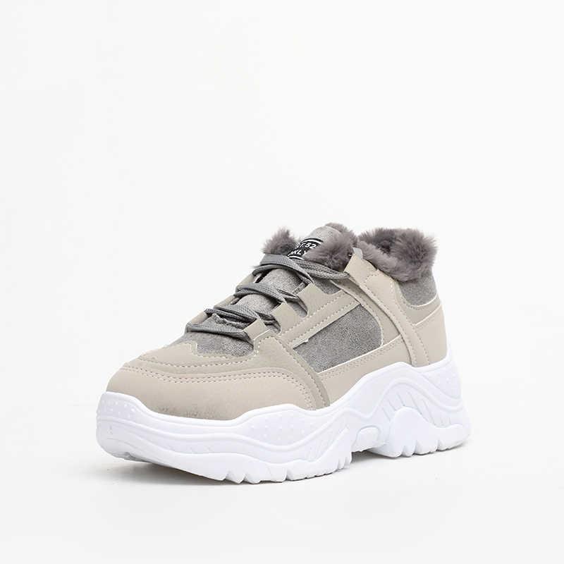 Kadın bahar kış gündelik ayakkabı kadın dantel Up örgü baba tıknaz ayakkabı kadın düz platformu konfor moda bayan ayakkabıları