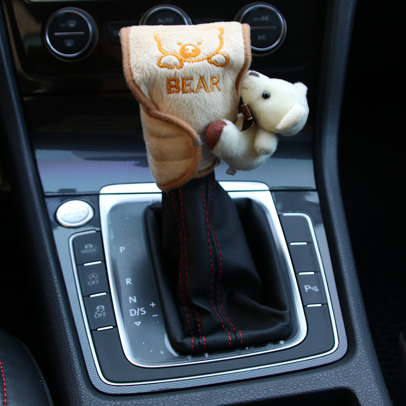 Automatic Transmission Sheath With Doll Cartoon Car Interior Trim Supplies Gear Sheath Winter Supplies